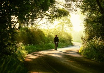 A burst of fresh clean sunshine illuminates the countryside just after sunup on a morning ride to Pevensey