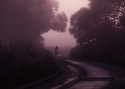 A thick sea mist and the pre dawn murk add a touch of mystery and intrigue to this old road through the marshes along the Sussex coast