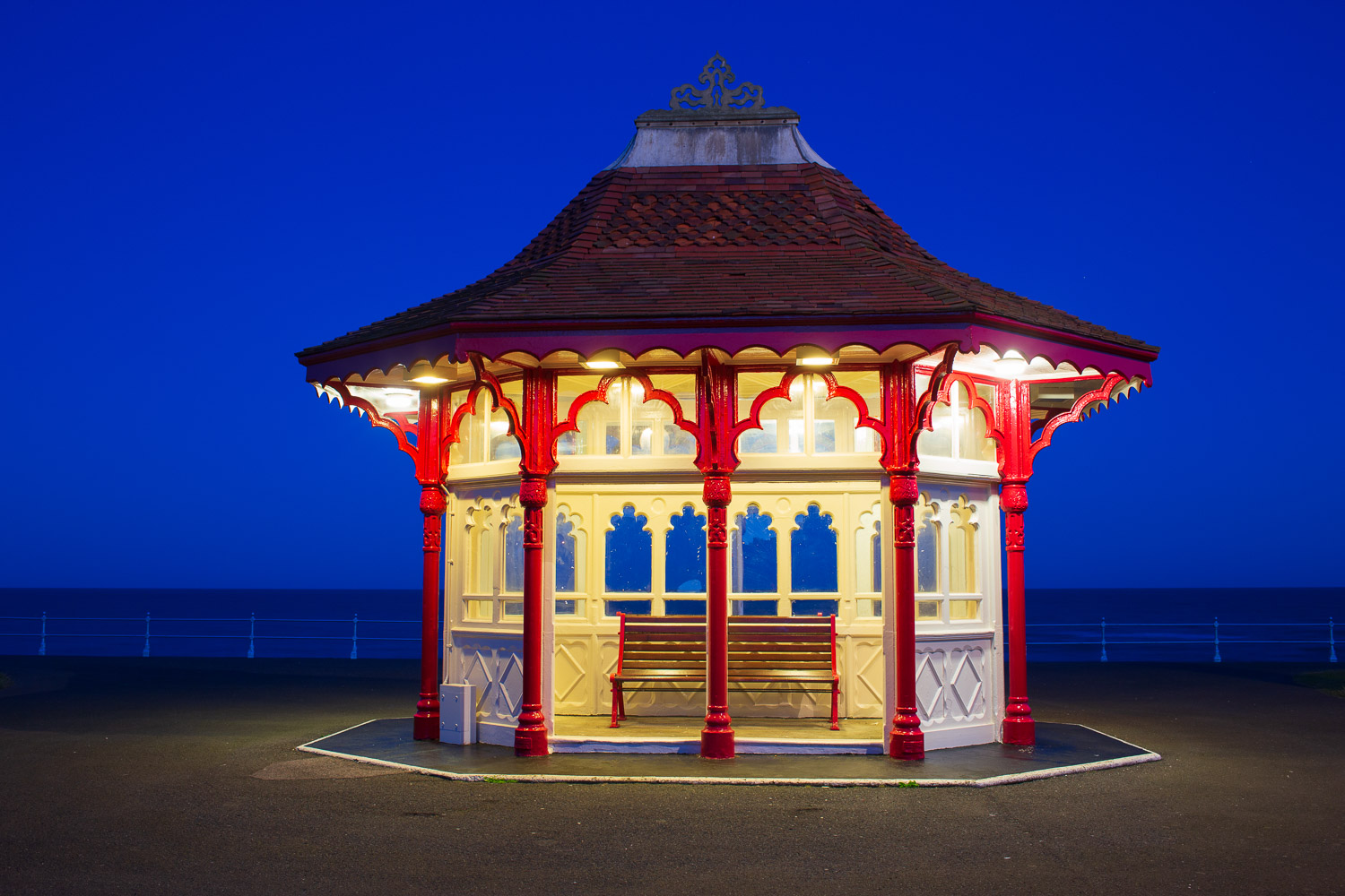 Delightfully ornate seaside shelter on the Edwardian seafront of Bexhill-
