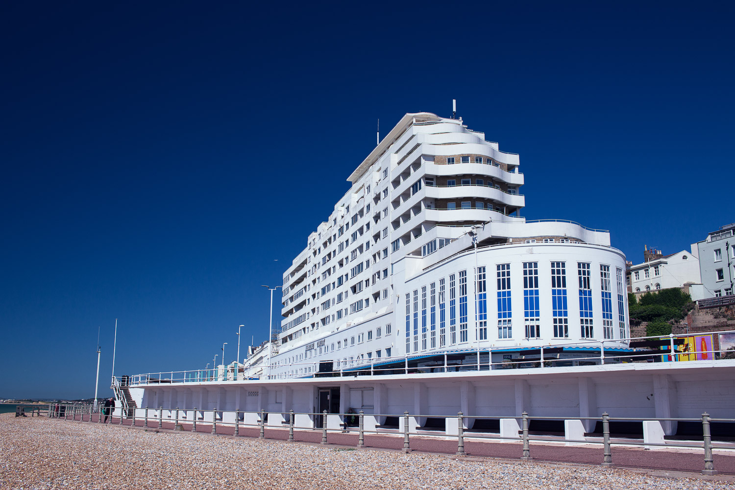 Gleaming white art deco curves and nautical lines of the Marine Court building (built in 1938) were designed to resemble the newly launched liner Queen Mary