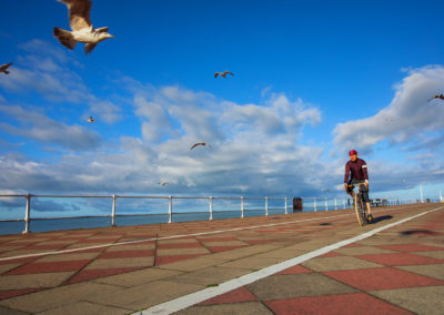 Sunrise With Seagulls - and a sense of aerial liberation as I spin along the seafront promenade at Hastings