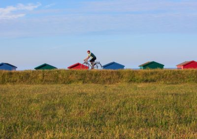 Surf and Turf - the roofs of brightly painted beach huts for m a backdrop to this stretch of the seafront bicycle path in St Leonards-on-Sea