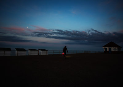 Moonlight and an after hours feel on the deserted seafront at Bexhill