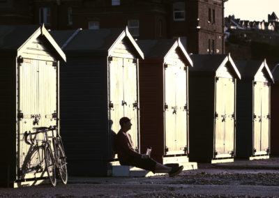 A quiet moment by the beach huts at sunrise, St Leonard-on-Sea