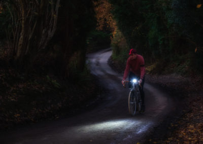 There's a storybook quality to riding the English lanes by lamplight, suggestive of misery and adventure, that always appeals to me