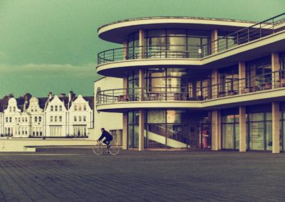 As a collector of vintage postcards I get the artistic urge sometimes to create one of my own - this a postcard take of my ride along the Bexhill seafront, past the modernist/art deco  De La Warr Pavilion, built in 1935