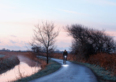 Bright cold winter morning on the marshes, near the hamlet of Rickney
