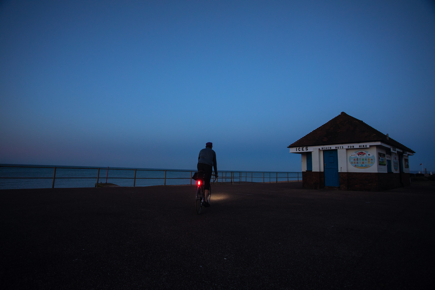 Cycling in Sussex : Social Distancing - alone on the beach at Hastings