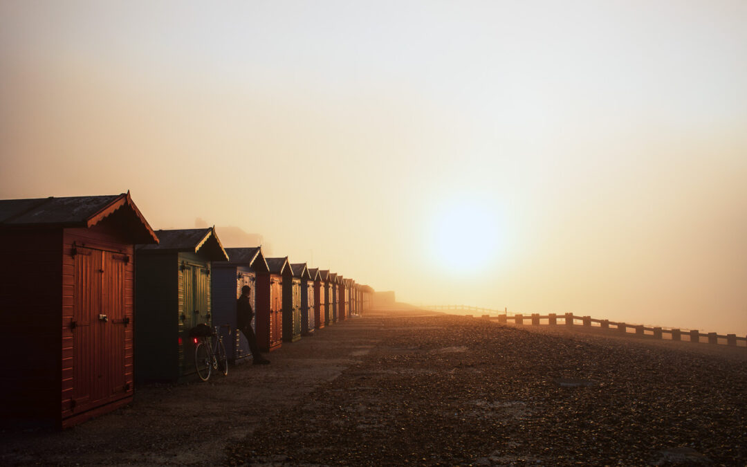 Beach Huts, Sunrise at St Leonard's-on-Sea
