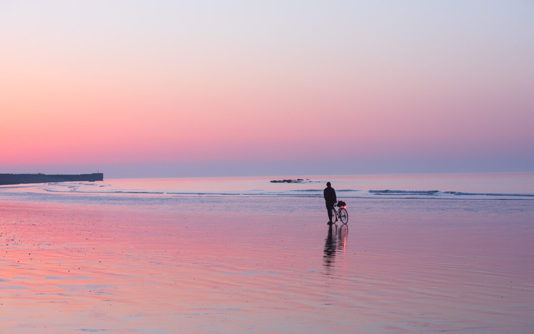 Violet Dawn and Low Tide, on the beach at Hastings