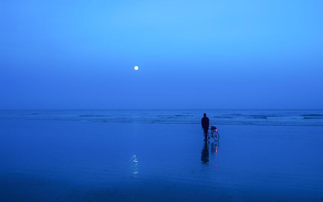 The Pink Moon, Hastings Beach, Low Tide