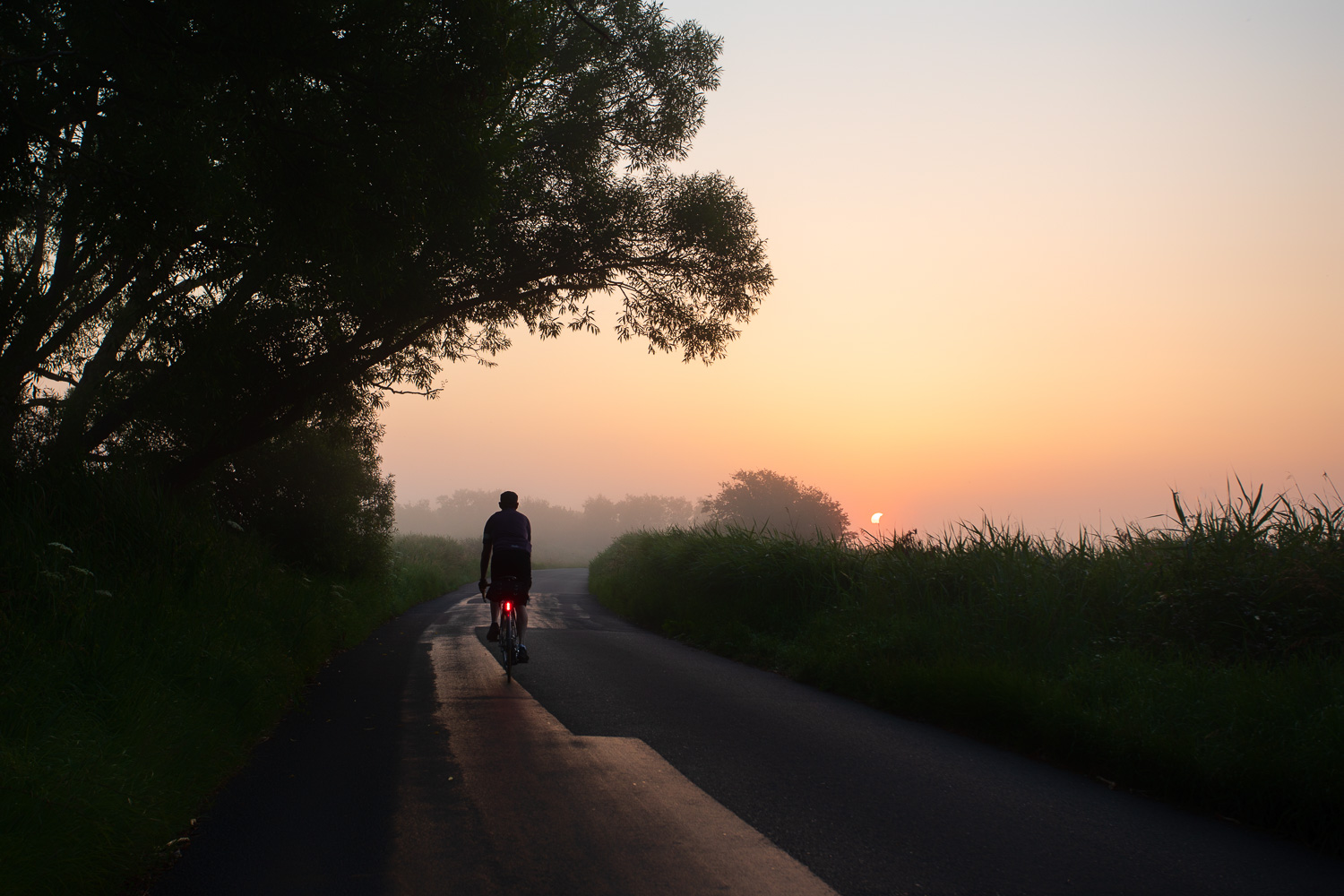 A dawn cyclist pedals toward the sunrise on English country lane